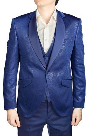 contemporaneous: Uomo vestito di cerimonia nuziale blu modello isolato su bianco.
