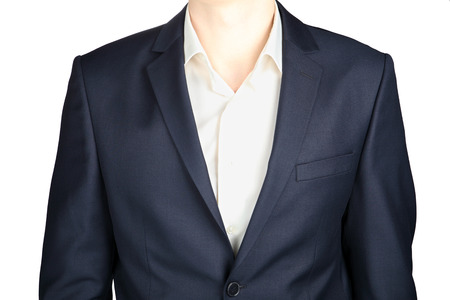 tailored: Close-up of a classic blue-gray coat suit, tailored clothes, isolated over white.