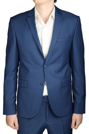 without clothes: Mens business suit, ocean blue color, isolated on white.