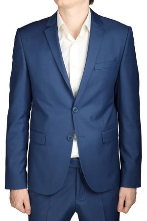 traje sastre: Mens traje de negocios, de color azul marino, aislado en blanco. Foto de archivo
