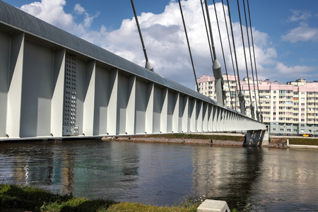 steel girder: St. Petersburg, Russia - July 9, 2015: Part of the steel girder cable-stayed bridge, the main heat conductor through Dudergofsky channel. Editorial