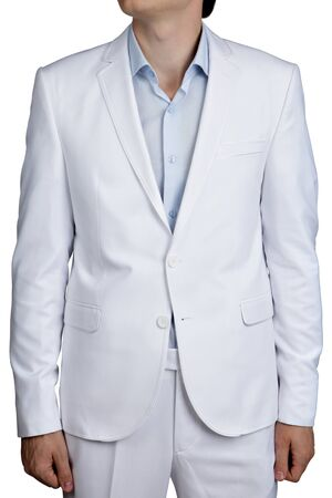 Light Blue Pastel suit of clothes for men, Suit Jacket and trousers, isolated over white.