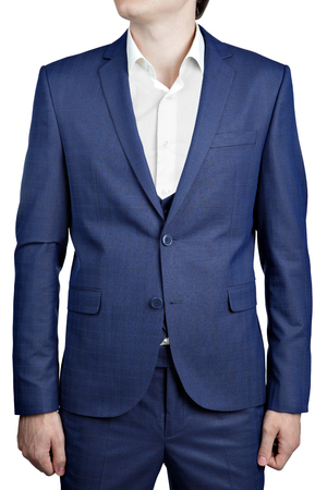 vest in isolated: Deep blue mens checkered suit triple blazer with vest, isolated on white background. Stock Photo