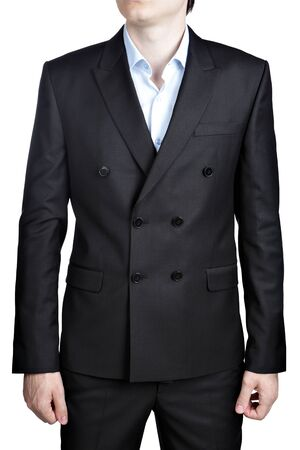 suit jacket: Double-breasted black men wedding Gentleman suit, isolated over white. Stock Photo