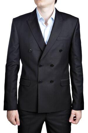 traje formal: Haga doble botonadura negro los hombres de la boda traje de caballero, aislado m�s de blanco.