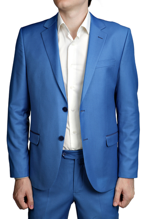 unbuttoned: Modern fashion light blue jacket mens suit, two buttons unbuttoned, isolated on a white background.