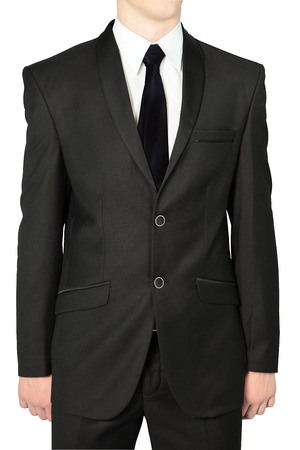 dinner wear: Classic black wedding suits for men, Isolated on white. Stock Photo