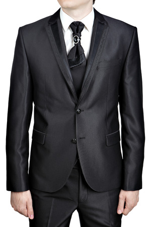 plastron: Dark gray for man evening suit with a tie, tie knot decorated with a big brooch pin.