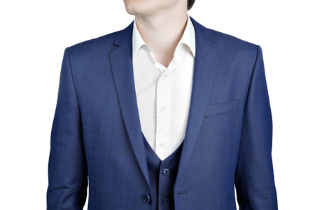 suit jacket: Closeup fragment of suit jacket on prom night for man, isolate on white background. Stock Photo