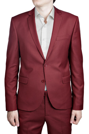 Burgundy wedding suit for men, isolated on white background.