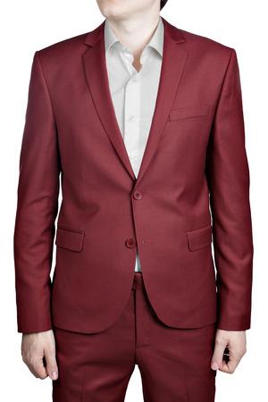 chaqueta: Traje de boda de Borgoña para los hombres, aislados en fondo blanco. Foto de archivo