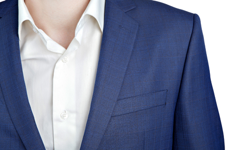 navy blue suit: Close-up fragment of shoulder dark blue suit on prom night for men, Isolated on white background.