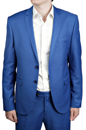 unbuttoned: Unbuttoned two-button masculine suit groom or prom, a bright blue color, isolated on white background.