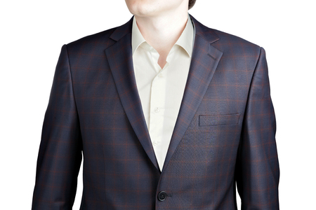 strip shirt: Close-up mens plaid sport coat, blue-brown color checkered, isolated on white.