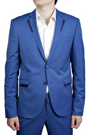 dinner wear: Mens wedding suit of bright blue color trousers and jacket, isolated on white.