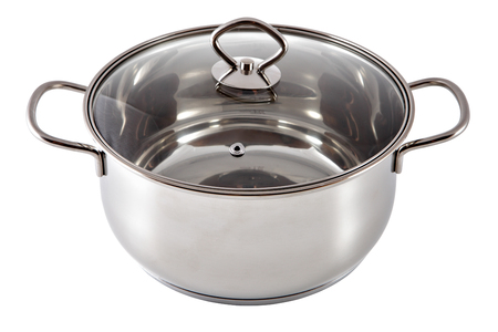 stainles steel: Shiny stainless steel soup pot, covered with a lid made of transparent glass, isolated on white background.