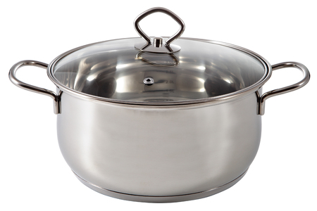 stainles steel: Shining stainless steel soup pan, coated with a lid glass,  isolated on white background. Stock Photo