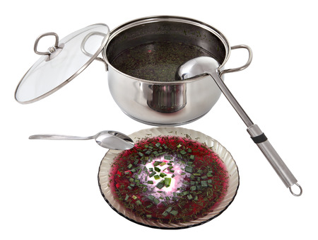 stainles steel: Pan with Russian cold beetroot borscht soup and a bowl of broth with a portion decorated with sour cream and spring onion isolated over white background. Stock Photo