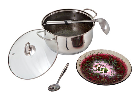 stainles steel: Casserole with Russian cold beet borscht soup and a bowl of soup with a portion decorated with sour cream and green onions isolated on a white background.