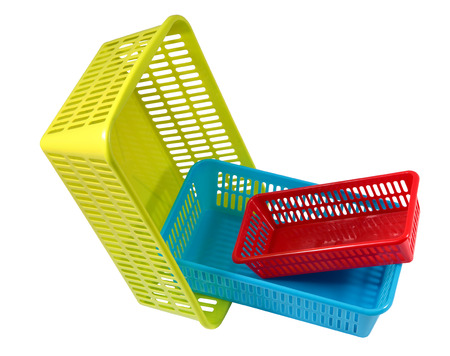 tare: Plastic products household use, colored boxes of different sizes, baskets for storage, three small containers different colors, isolated on a white background.