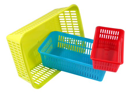 Exceptionnel Set Of Colored Plastic Household Baskets For Storage, Three Small  Containers Of Different Sizes And