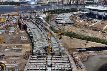 malaya: St. Petersburg, Russia - July 16, 2015: Cable-stayed bridge across Malaya Neva River during construction, Saint-Petersburg, Russia. Editorial
