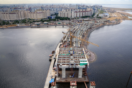 diameter: St. Petersburg, Russia - July 16, 2015: Cable-stayed bridge across the river Neva Petrovsky fairway under construction, part of the Western High Speed Diameter.