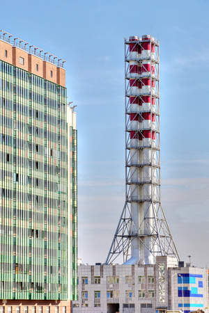 boiler house: St. Petersburg, Russia - July 6, 2015: district heating plant chimney, modular boiler house
