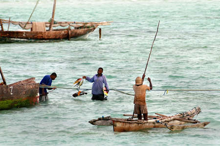waist deep: Zanzibar, Tanzania - February 18, 2008: African fishermen go fishing near the shore.