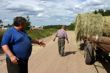 peasant farming: Lemozero, Olonets, Karelia, Russia - July 26, 2006: Farmers discuss action by transportation hay bales.