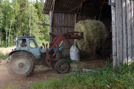 peasant farming: Lemozero, Olonets, Karelia, Russia - July 26, 2006: Tractor forklift to load round bales of hay in the barn.