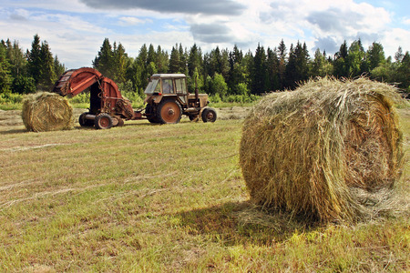haymow: Lemozero, Olonets, Karelia, Russia - July 26, 2006: Fodder harvesting Hay preparation, farm tractor with a round baler working in a field. Editorial
