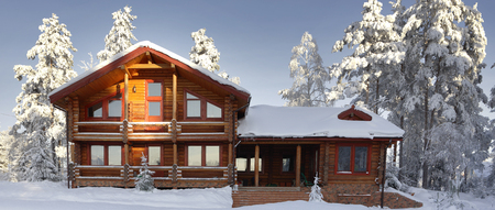 Modern log cabin, wooden residential house in winter,  vacation home.