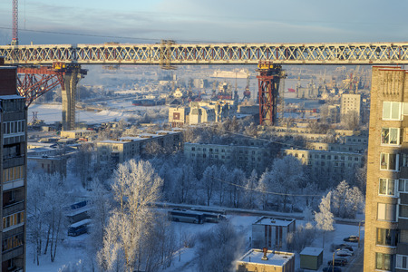 two level house: Construction of two-level road bridge speed highway over residential area of  island Kanonersky Saint Petersburg. Editorial