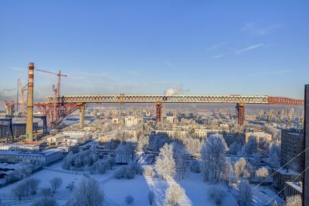 two level house: St.Petersburg, Russia - January 23, 2016: Two-level highway bridge flyover through the Sea Canal in Saint-Petersburg built in the part of the central section of the Western High-Speed Diameter.