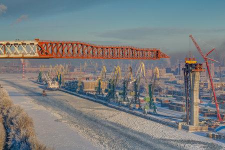 gat: St.Petersburg, Russia - January 23, 2016: Top view of winter sea port of Saint Petersburg, Russia.