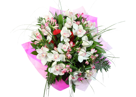 ferns and orchids: Flower arrangement, bouquet white orchids isolated on white background.