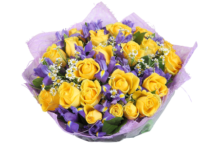 Floral bouquet of yellow roses and violet orchids isolated on white background.