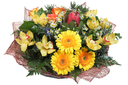 yellow gerbera isolated on: Flower Arrangement large mixed floral bouquet of yellow gerberas, pale yellow orchids, artichokes, orange roses, feverweed, daisies and ferns, isolated on white background.