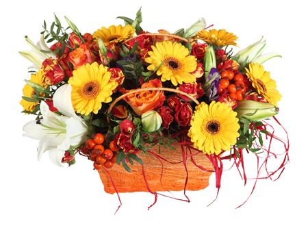 gerbera daisies: Flower arrangement in orange basket, roses, yellow gerbera daisies and white lilies, isolated on white background. Stock Photo