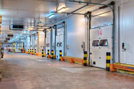 Saint-Petersburg, Russia - October 31, 2016: industrial loading  dock area inside cold storage warehouse.