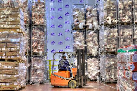 alimentos congelados: almacenaje apilador de la carretilla elevadora de trabajo en las tiendas muy fríos, almacenamiento en frío refrigerado, alimentos congelados: 31 Octubre, 2016 - San Petersburgo, Rusia.
