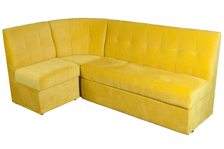 cushioned: Yellow fabric l shaped sofa, corner sofa for dining room, with storage space, isolated on white background,  include clipping path.