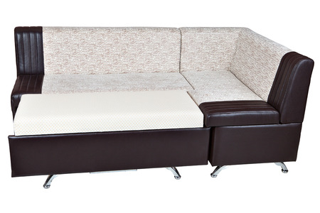 Leatherette Modern Sectional Convertible Sofa Bed, dining room furniture, white with brown color,  isolated on white background, include clipping path.