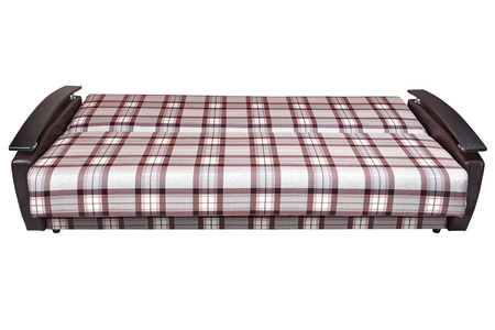 Stock Photo   When Folded, Modern Checkered Fabric Sofa Bed 2 Seater,  Isolated On White Background, Include Clipping Path.