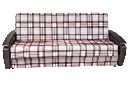 Exceptional Stock Photo   When Folded, Modern Checkered Fabric Sofa Bed 2 Seater,  Isolated On White Background, Include Clipping Path.