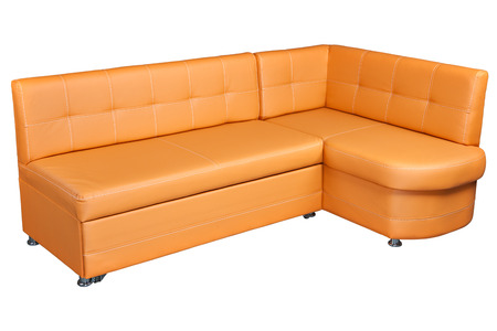 Leather Corner Sofa With Storage, Light Brown Colored, Isolated On White  Background, Include