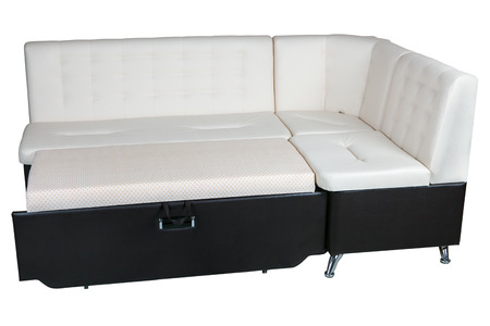 cushioned: Modern corner convertible sofa bed leather sleeper brown and white color, isolated on white background, include clipping path. Stock Photo