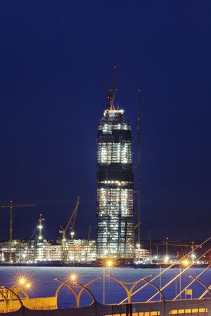 Saint-Petersburg, Russia - January 3, 2017: Under construction skyscraper Lakhta Center, night view, winter.