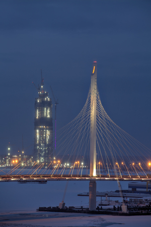 tallest bridge: Saint-Petersburg, Russia - January 2, 2017: Building Skyscraper Gazprom Office, The Lakhta Tower is touted to become the tallest tower in Europe,  Primorsky District, St Petersburg, Russia.